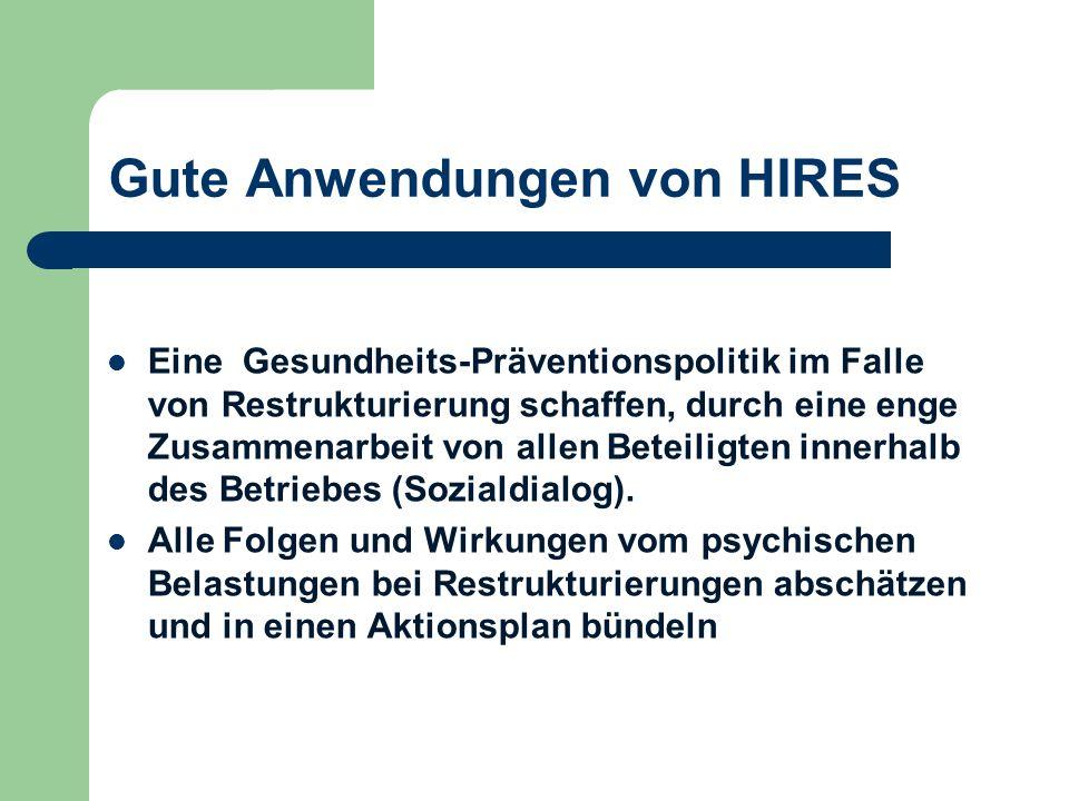 Gute Anwendungen von HIRES Eine Gesundheits-Präventionspolitik im Falle von Restrukturierung schaffen, durch eine enge Zusammenarbeit von allen Beteiligten innerhalb des Betriebes (Sozialdialog).