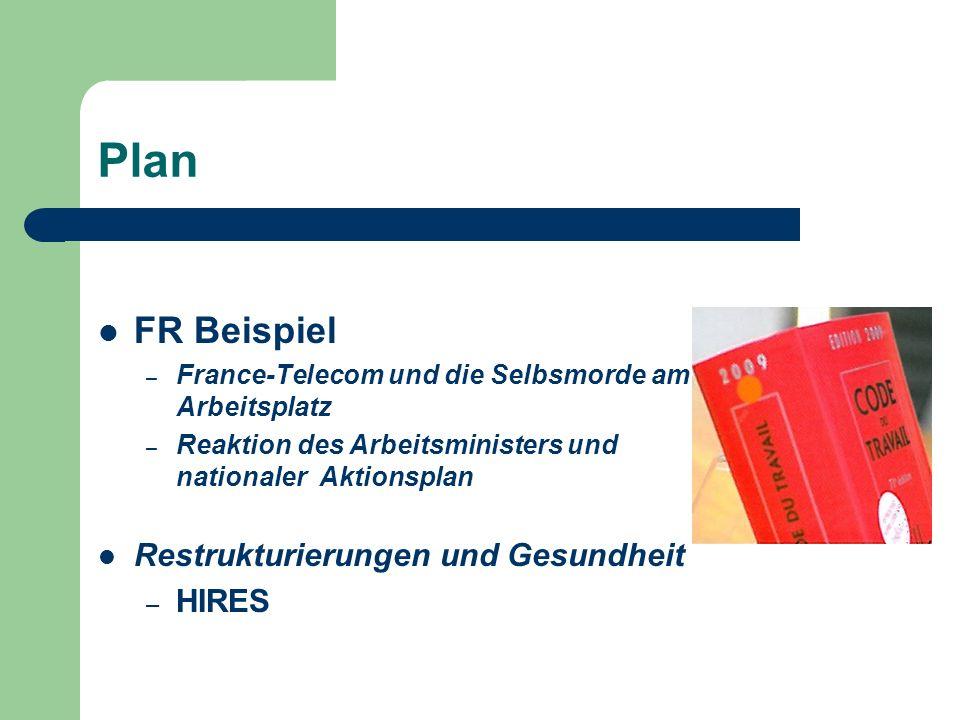 Plan FR Beispiel – France-Telecom und die Selbsmorde am Arbeitsplatz – Reaktion des Arbeitsministers und nationaler Aktionsplan Restrukturierungen und Gesundheit – HIRES
