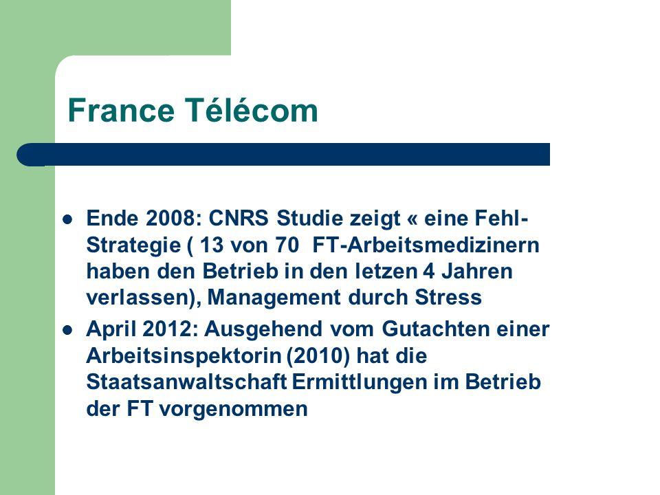 France Télécom Ende 2008: CNRS Studie zeigt « eine Fehl- Strategie ( 13 von 70 FT-Arbeitsmedizinern haben den Betrieb in den letzen 4 Jahren verlassen), Management durch Stress April 2012: Ausgehend vom Gutachten einer Arbeitsinspektorin (2010) hat die Staatsanwaltschaft Ermittlungen im Betrieb der FT vorgenommen