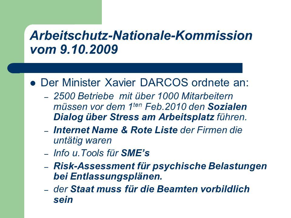 Arbeitschutz-Nationale-Kommission vom 9.10.2009 Der Minister Xavier DARCOS ordnete an: – 2500 Betriebe mit über 1000 Mitarbeitern müssen vor dem 1 ten Feb.2010 den Sozialen Dialog über Stress am Arbeitsplatz führen.