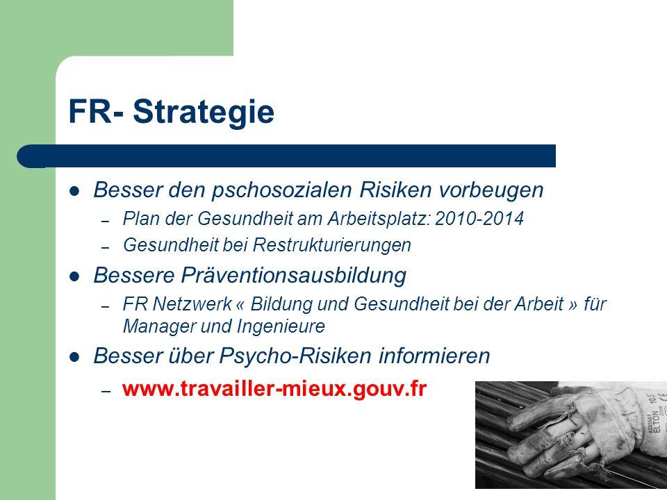 FR- Strategie Besser den pschosozialen Risiken vorbeugen – Plan der Gesundheit am Arbeitsplatz: 2010-2014 – Gesundheit bei Restrukturierungen Bessere