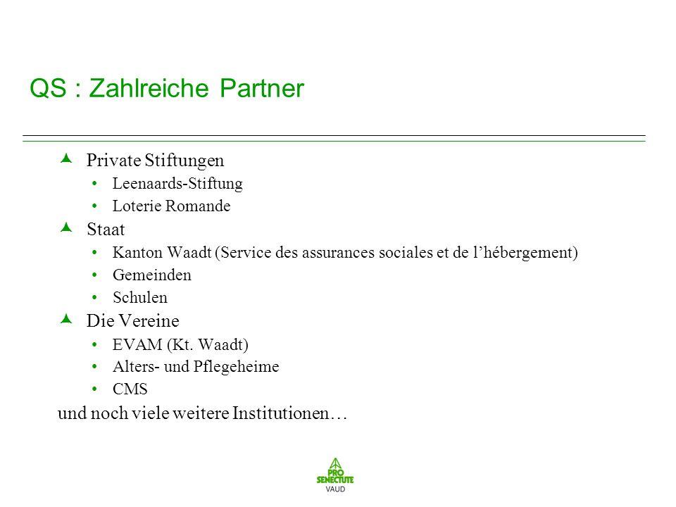 QS : Zahlreiche Partner Private Stiftungen Leenaards-Stiftung Loterie Romande Staat Kanton Waadt (Service des assurances sociales et de lhébergement) Gemeinden Schulen Die Vereine EVAM (Kt.