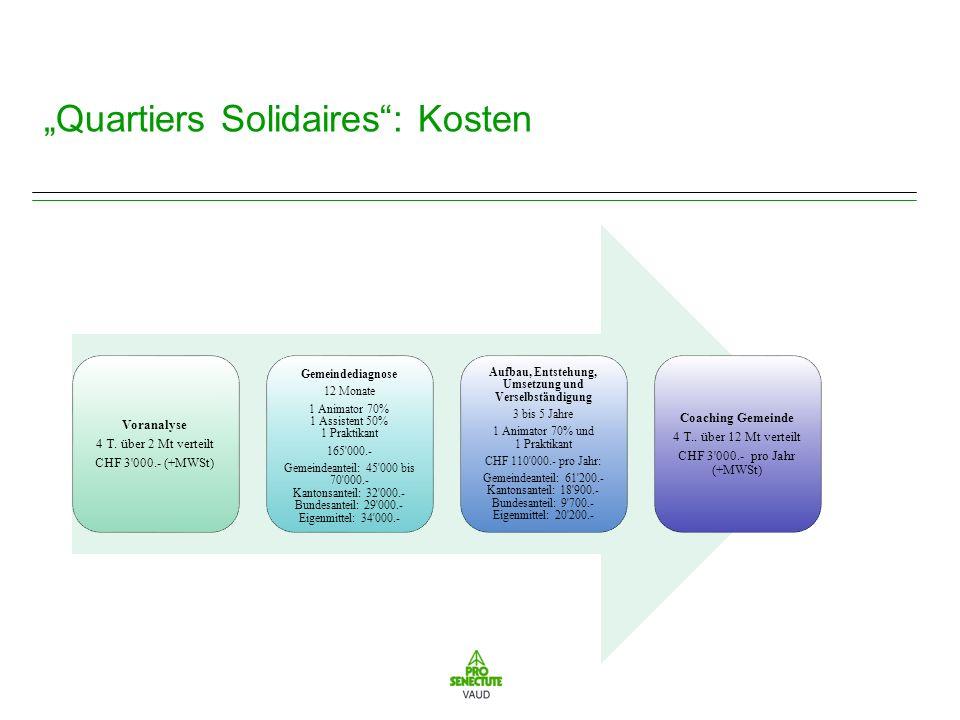 Quartiers Solidaires: Kosten Voranalyse 4 T.