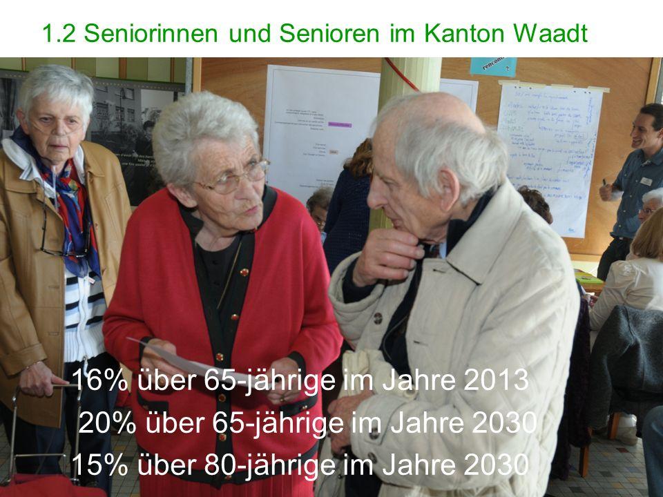 4 1.2 Seniorinnen und Senioren im Kanton Waadt 4 16% über 65-jährige im Jahre 2013 20% über 65-jährige im Jahre 2030 15% über 80-jährige im Jahre 2030