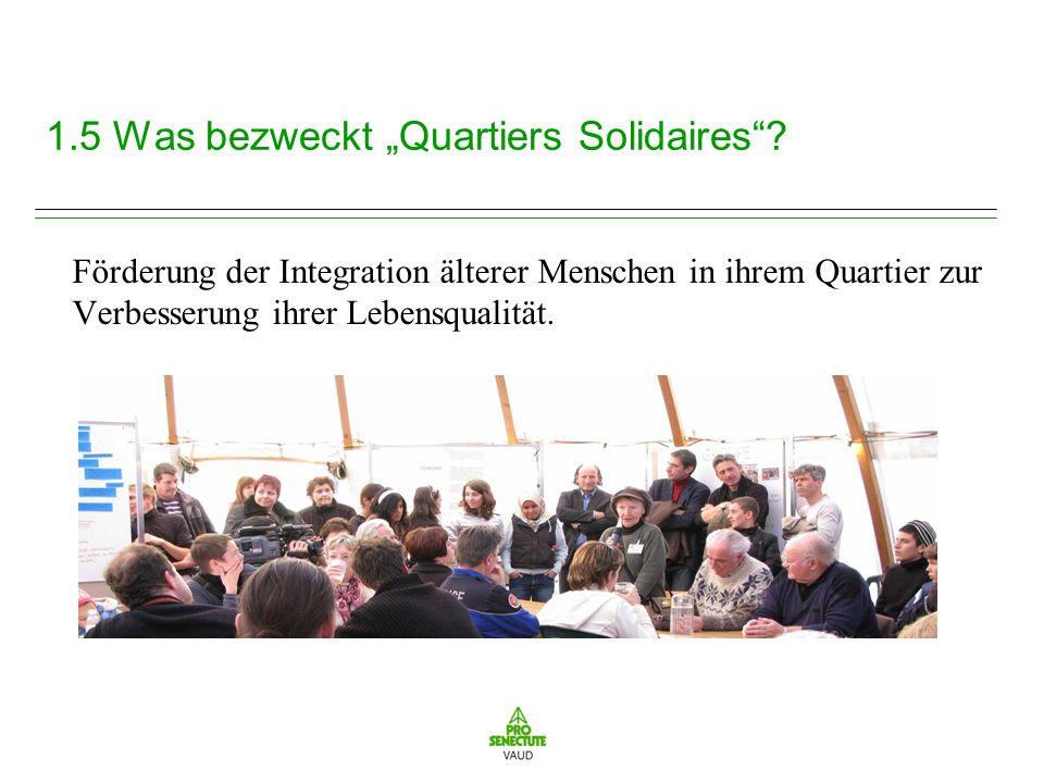 3.1 Ergebnisse und Auswirkungen auf mehreren Ebenen Pro Senectute Waadt schlägt heute eine eigenständige Methode der Auswertung der Ergebnisse von Quartiers solidaires anhand von 3 Hauptindikatoren der Einbeziehung vor.