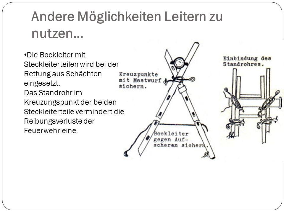 Andere Möglichkeiten Leitern zu nutzen… Die Bockleiter mit Steckleiterteilen wird bei der Rettung aus Schächten eingesetzt.