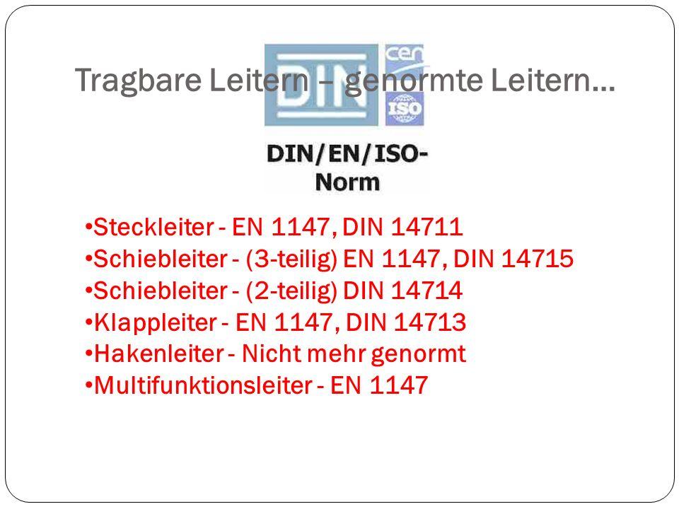 Tragbare Leitern – genormte Leitern… Steckleiter - EN 1147, DIN 14711 Schiebleiter - (3-teilig) EN 1147, DIN 14715 Schiebleiter - (2-teilig) DIN 14714 Klappleiter - EN 1147, DIN 14713 Hakenleiter - Nicht mehr genormt Multifunktionsleiter - EN 1147