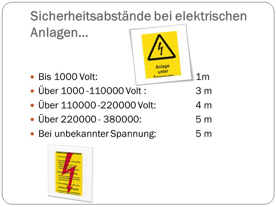 Sicherheitsabstände bei elektrischen Anlagen… Bis 1000 Volt:1m Über 1000 -110000 Volt : 3 m Über 110000 -220000 Volt:4 m Über 220000 - 380000: 5 m Bei unbekannter Spannung:5 m