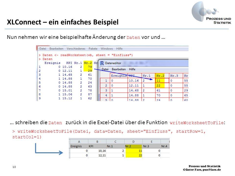 Prozess und Statistik Günter Faes, pus@faes.de 10 XLConnect – ein einfaches Beispiel Nun nehmen wir eine beispielhafte Änderung der Daten vor und … …