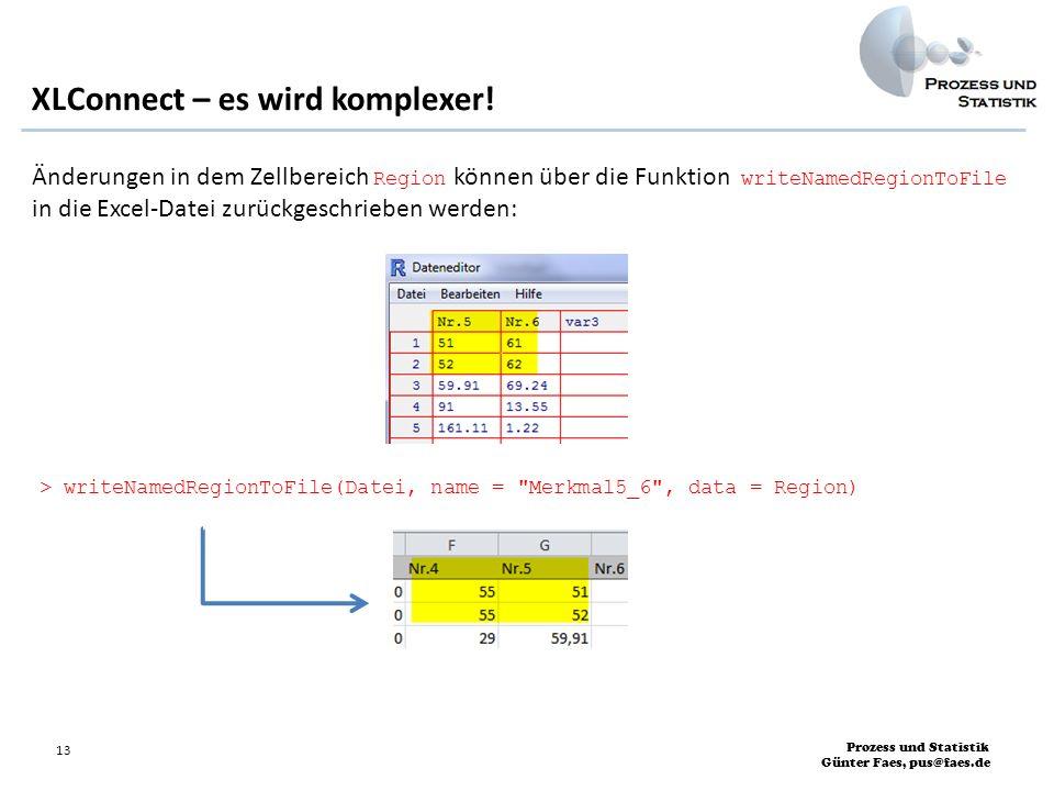 Prozess und Statistik Günter Faes, pus@faes.de 13 XLConnect – es wird komplexer! Änderungen in dem Zellbereich Region können über die Funktion writeNa