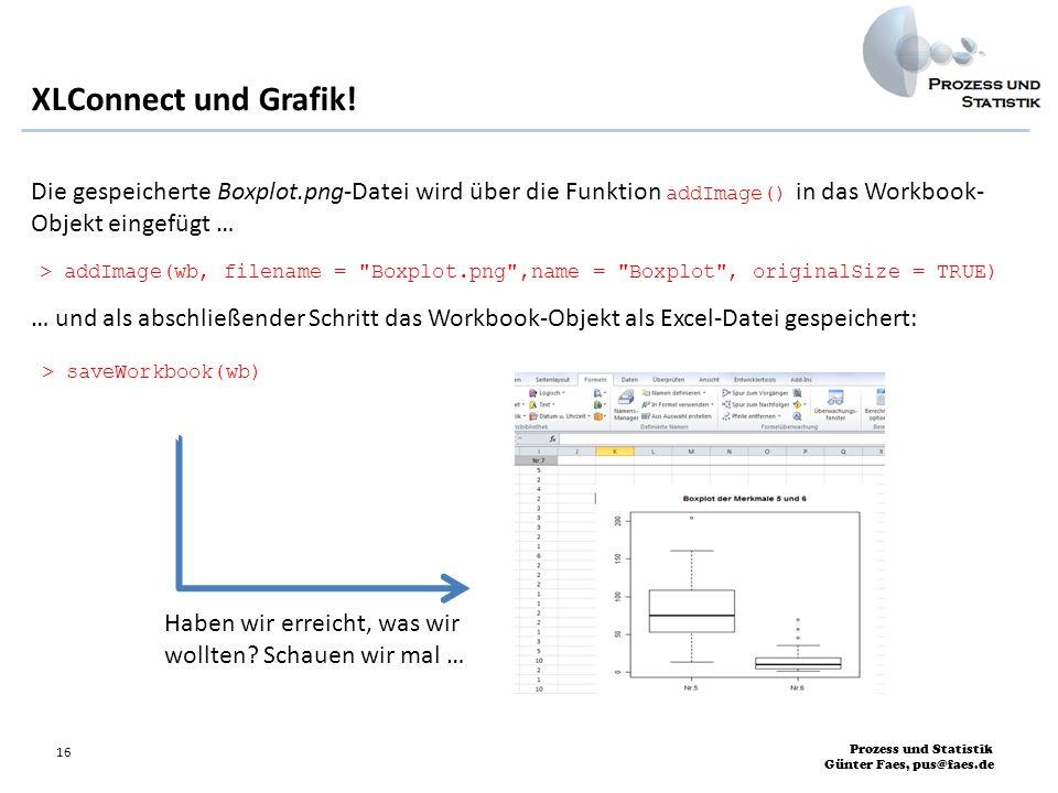 Prozess und Statistik Günter Faes, pus@faes.de 16 Die gespeicherte Boxplot.png-Datei wird über die Funktion addImage() in das Workbook- Objekt eingefü