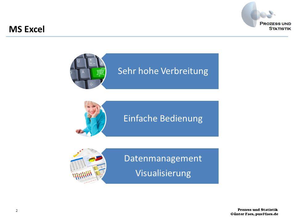 Prozess und Statistik Günter Faes, pus@faes.de 2 MS Excel Sehr hohe Verbreitung Einfache Bedienung Datenmanagement Visualisierung