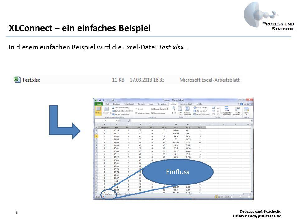 Prozess und Statistik Günter Faes, pus@faes.de 9 XLConnect – ein einfaches Beispiel … eingelesen: > Datei <- Test.xlsx > wb <- loadWorkbook(Datei) # Einlesen der Excel-Datei in das Workbook-Objekt wb: > Daten <- readWorksheet(wb, sheet = Einfluss ) > Daten Ereignis KPI Nr.1 Nr.2 Nr.3 Nr.4 Nr.5 Nr.6 Nr.7 1 0 10.16 2 79 0 55 46.06 35.22 2 2 0 12.11 1 29 0 55 204.23 4.40 2 3 1 14.68 2 61 0 29 59.91 69.24 5 4 1 14.88 1 70 0 65 91.00 13.55 2 5 0 14.88 2 24 0 60 161.11 1.22 4 6 0 14.88 2 63 0 60 28.38 7.03 2 7 0 15.01 2 78 0 60 69.70 13.98 2 8 1 15.06 2 87 0 36 30.22 34.08 3 9 1 15.12 1 62 1 20 13.17 15.60 3 10 1 15.22 2 84 0.........