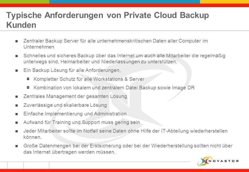 Typische Anforderungen von Private Cloud Backup Kunden Zentraler Backup Server für alle unternehmenskritischen Daten aller Computer im Unternehmen Sch