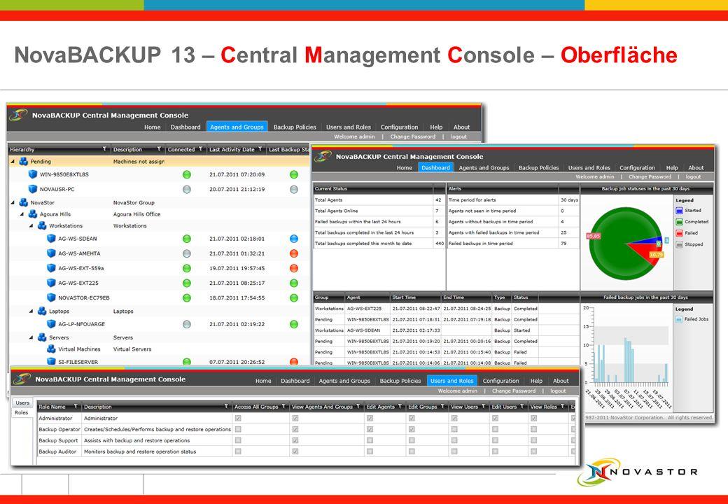 NovaBACKUP 13 – Central Management Console – Oberfläche