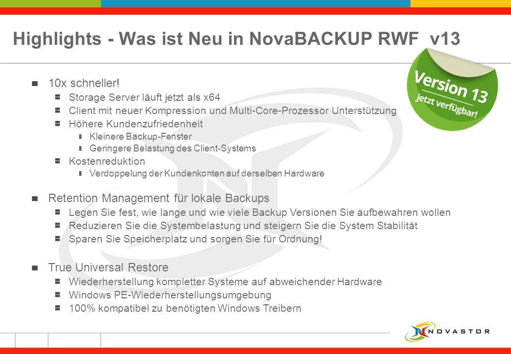 Highlights - Was ist Neu in NovaBACKUP RWF v13 10x schneller! Storage Server läuft jetzt als x64 Client mit neuer Kompression und Multi-Core-Prozessor