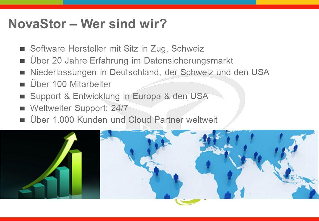NovaStor – Wer sind wir? Software Hersteller mit Sitz in Zug, Schweiz Über 20 Jahre Erfahrung im Datensicherungsmarkt Niederlassungen in Deutschland,