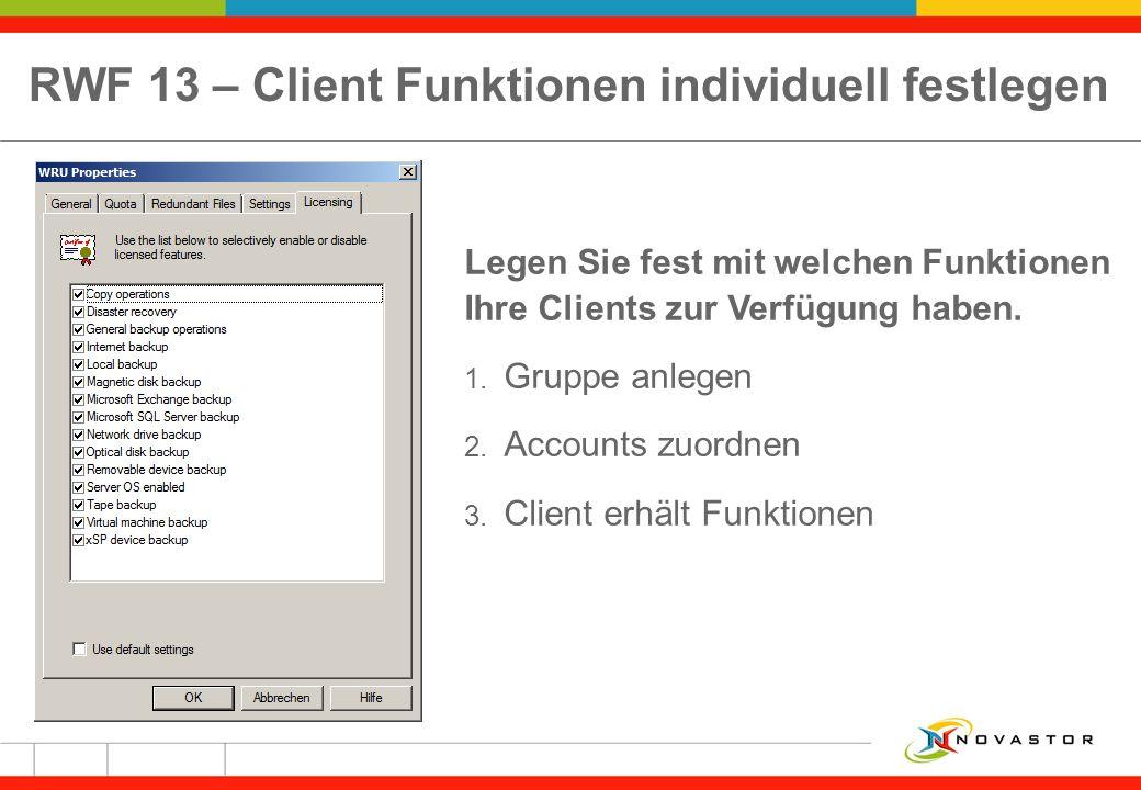 RWF 13 – Client Funktionen individuell festlegen Legen Sie fest mit welchen Funktionen Ihre Clients zur Verfügung haben. 1. Gruppe anlegen 2. Accounts