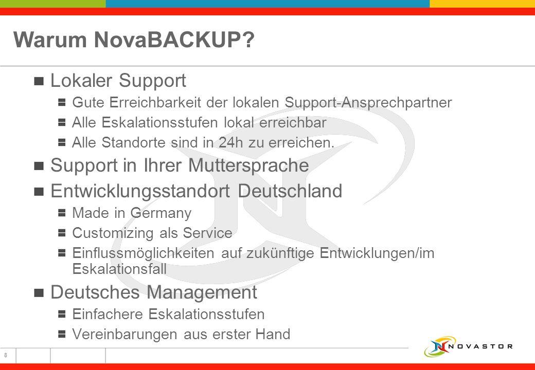 Warum NovaBACKUP? Lokaler Support Gute Erreichbarkeit der lokalen Support-Ansprechpartner Alle Eskalationsstufen lokal erreichbar Alle Standorte sind
