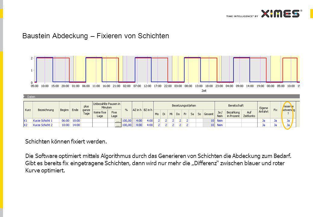 © 2010 XIMES 18 Baustein Abdeckung – Fixieren von Schichten Schichten können fixiert werden. Die Software optimiert mittels Algorithmus durch das Gene