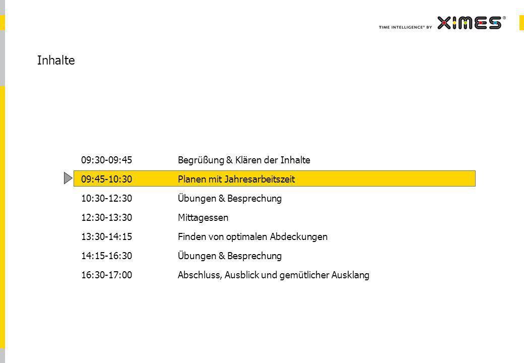 © 2010 XIMES 2 Inhalte 09:30-09:45Begrüßung & Klären der Inhalte 09:45-10:30Planen mit Jahresarbeitszeit 10:30-12:30Übungen & Besprechung 12:30-13:30 Mittagessen 13:30-14:15Finden von optimalen Abdeckungen 14:15-16:30Übungen & Besprechung 16:30-17:00Abschluss, Ausblick und gemütlicher Ausklang