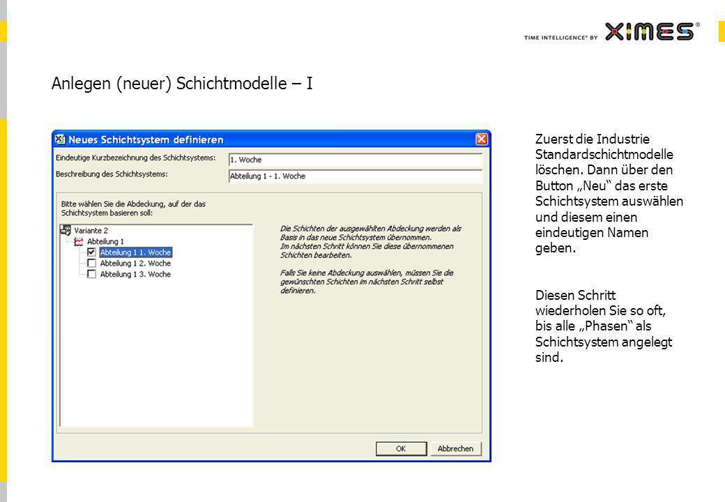 © 2010 XIMES 7 Anlegen (neuer) Schichtmodelle – I Zuerst die Industrie Standardschichtmodelle löschen.