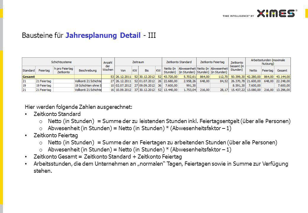 © 2010 XIMES 8 Bausteine für Jahresplanung Detail - III Hier werden folgende Zahlen ausgerechnet: Zeitkonto Standard o Netto (in Stunden) = Summe der