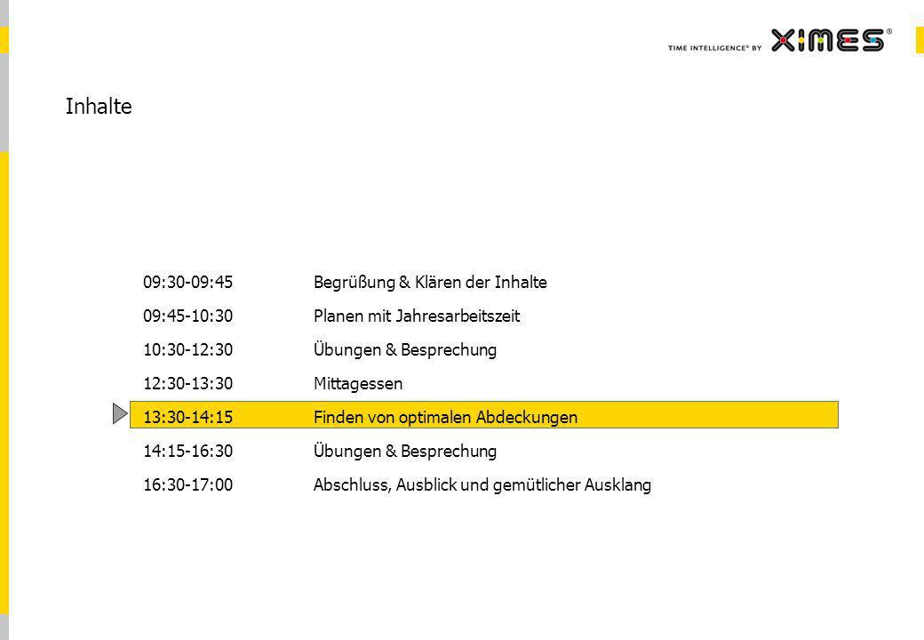 © 2010 XIMES 9 Inhalte 09:30-09:45Begrüßung & Klären der Inhalte 09:45-10:30Planen mit Jahresarbeitszeit 10:30-12:30Übungen & Besprechung 12:30-13:30 Mittagessen 13:30-14:15Finden von optimalen Abdeckungen 14:15-16:30Übungen & Besprechung 16:30-17:00Abschluss, Ausblick und gemütlicher Ausklang