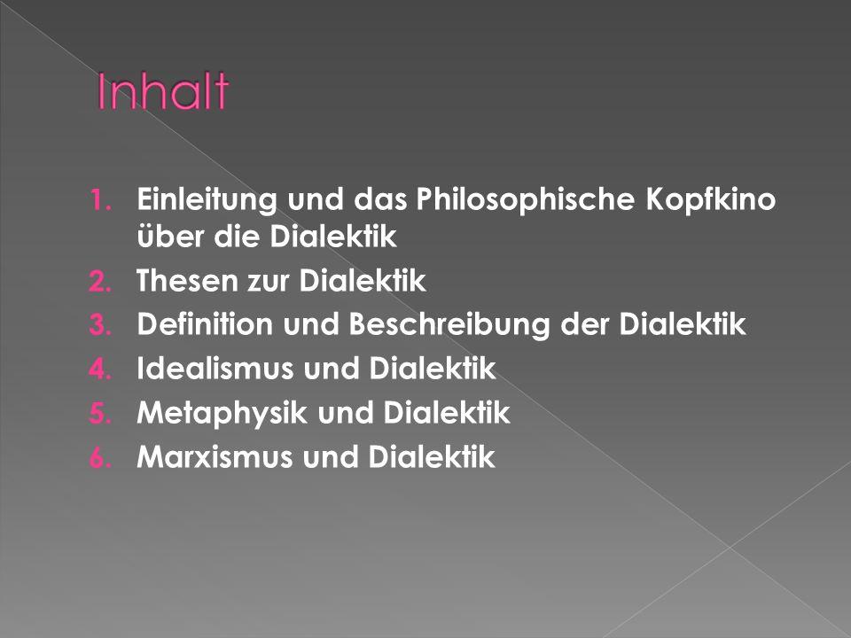 1.Einleitung und das Philosophische Kopfkino über die Dialektik 2.