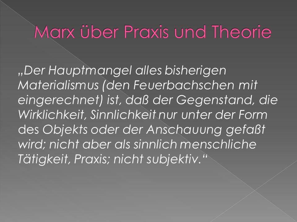 Unabdingbar für Linke und Marxisten Ohne Praxis Theorie sinnlos Ohne Praxis Rückfall zur philosophischen Onanie