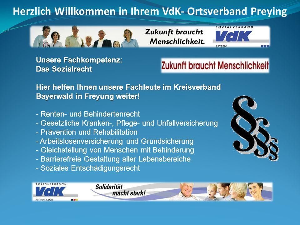 Unsere Fachkompetenz: Das Sozialrecht Hier helfen Ihnen unsere Fachleute im Kreisverband Bayerwald in Freyung weiter! - Renten- und Behindertenrecht -
