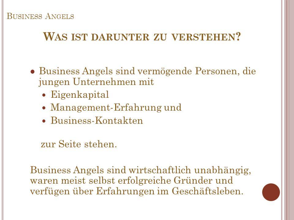 B USINESS A NGELS Business Angels sind vermögende Personen, die jungen Unternehmen mit Eigenkapital Management-Erfahrung und Business-Kontakten zur Se