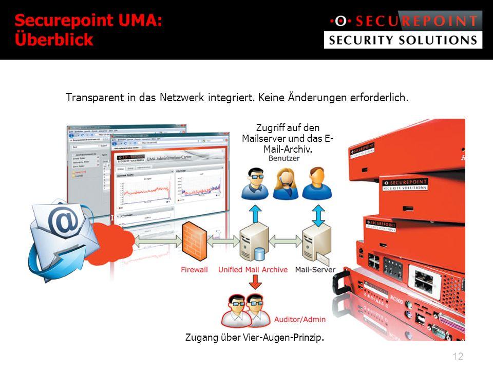 Securepoint UMA: Überblick Transparent in das Netzwerk integriert.