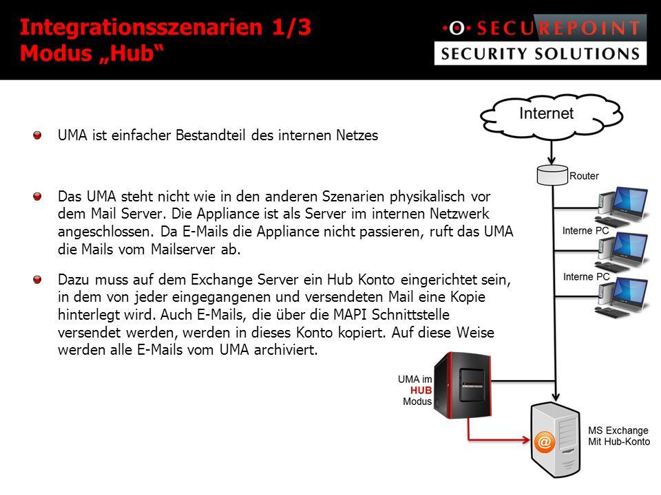 UMA ist einfacher Bestandteil des internen Netzes Das UMA steht nicht wie in den anderen Szenarien physikalisch vor dem Mail Server.