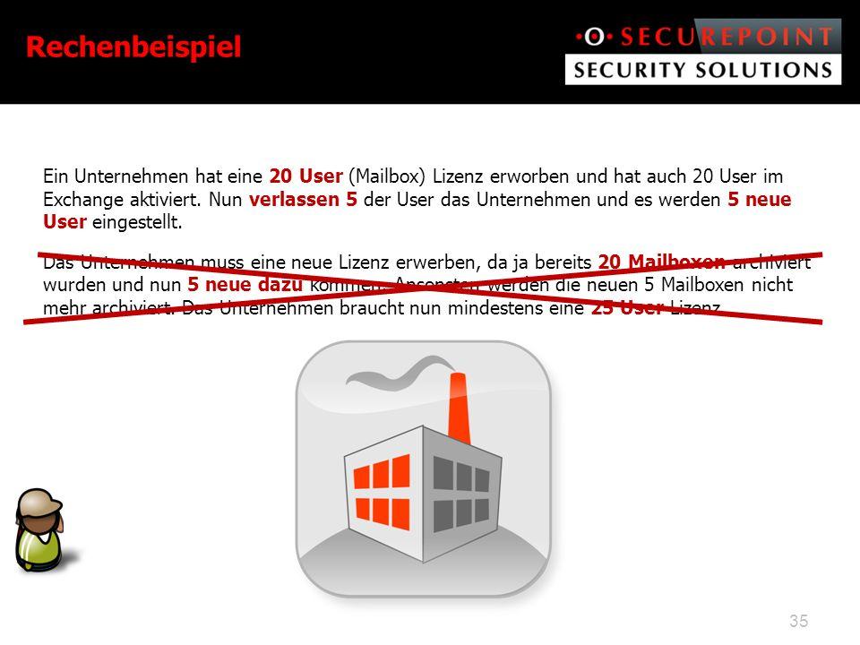 Ein Unternehmen hat eine 20 User (Mailbox) Lizenz erworben und hat auch 20 User im Exchange aktiviert.