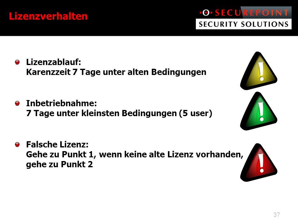 Lizenzablauf: Karenzzeit 7 Tage unter alten Bedingungen Inbetriebnahme: 7 Tage unter kleinsten Bedingungen (5 user) Falsche Lizenz: Gehe zu Punkt 1, wenn keine alte Lizenz vorhanden, gehe zu Punkt 2 37 Lizenzverhalten
