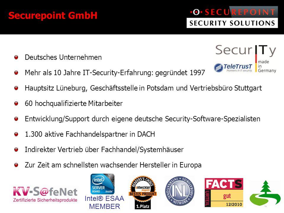 5 Wir sichern einfach Ihre Welt der Daten Securepoint UTM-/VPN-Produkte: Ganzheitlicher Netzwerkschutz und sichere Filialanbindung Securepoint UMA: E-MailArchiv GDPdU konform inkl.