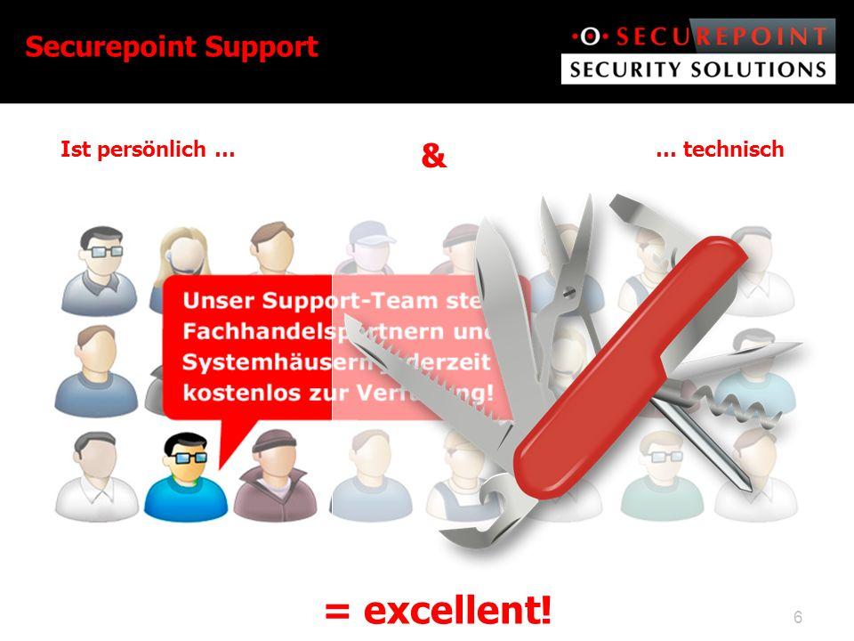 6 Securepoint Support Ist persönlich … & … technisch = excellent!