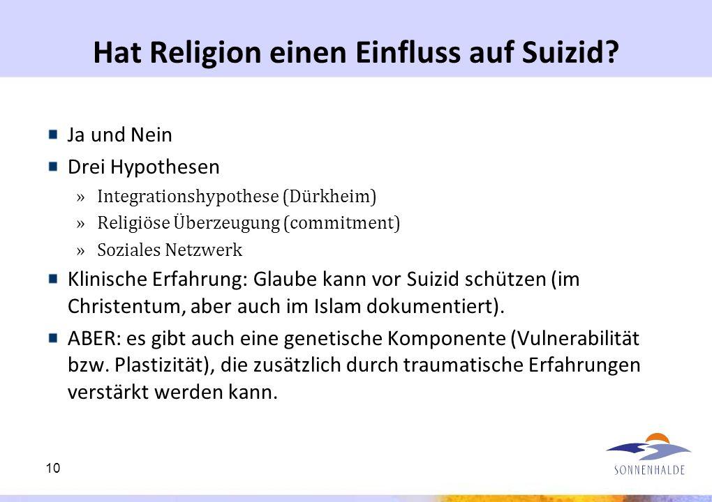 Hat Religion einen Einfluss auf Suizid? Ja und Nein Drei Hypothesen »Integrationshypothese (Dürkheim) »Religiöse Überzeugung (commitment) »Soziales Ne