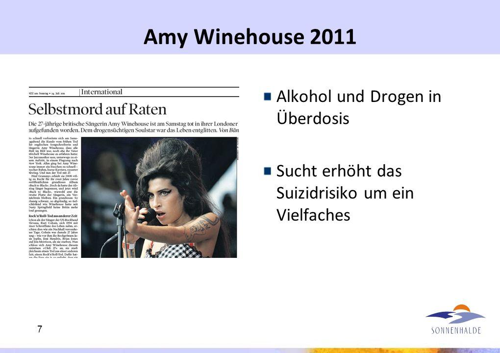 Amy Winehouse 2011 Alkohol und Drogen in Überdosis Sucht erhöht das Suizidrisiko um ein Vielfaches 7