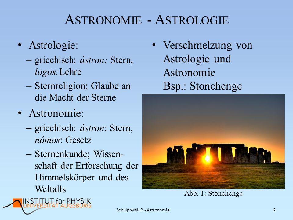 A STRONOMIE - A STROLOGIE Astrologie: – griechisch: ástron: Stern, logos:Lehre – Sternreligion; Glaube an die Macht der Sterne Astronomie: – griechisc