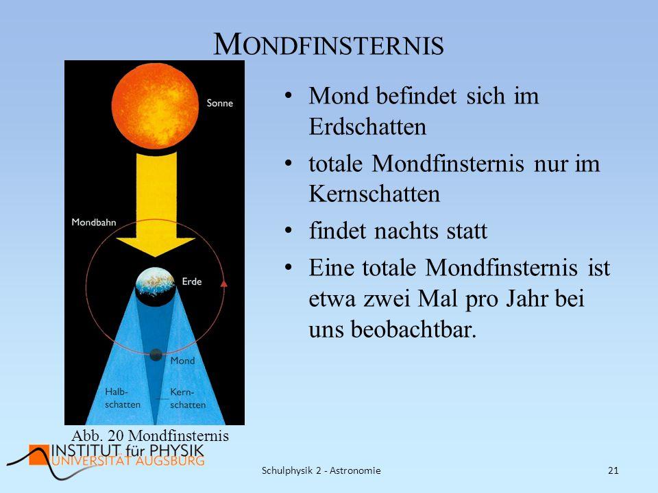 M ONDFINSTERNIS Mond befindet sich im Erdschatten totale Mondfinsternis nur im Kernschatten findet nachts statt Eine totale Mondfinsternis ist etwa zw