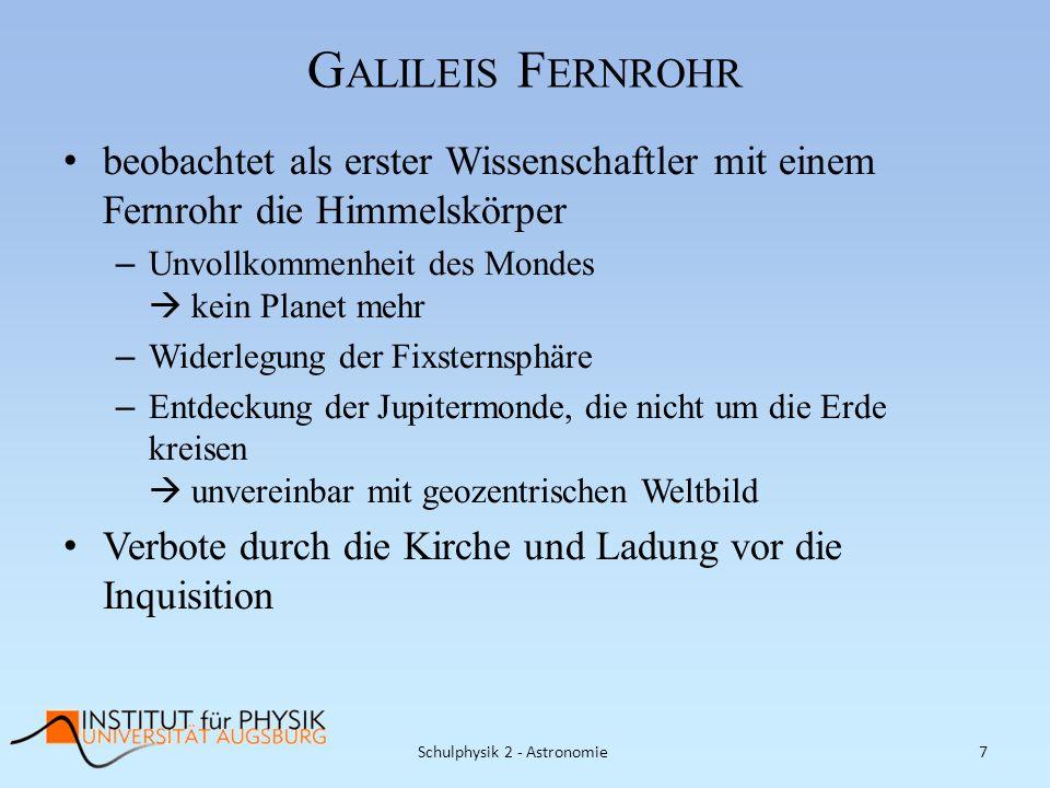 G ALILEIS F ERNROHR beobachtet als erster Wissenschaftler mit einem Fernrohr die Himmelskörper – Unvollkommenheit des Mondes kein Planet mehr – Widerl