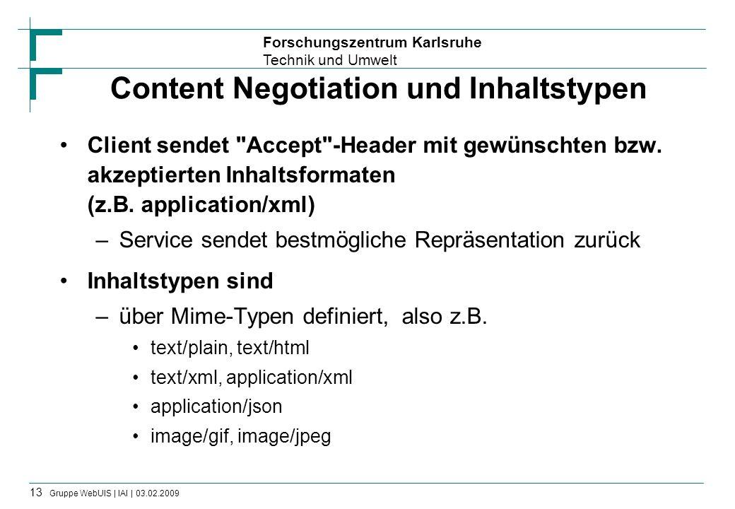 Forschungszentrum Karlsruhe Technik und Umwelt 13 Gruppe WebUIS | IAI | 03.02.2009 Content Negotiation und Inhaltstypen Client sendet