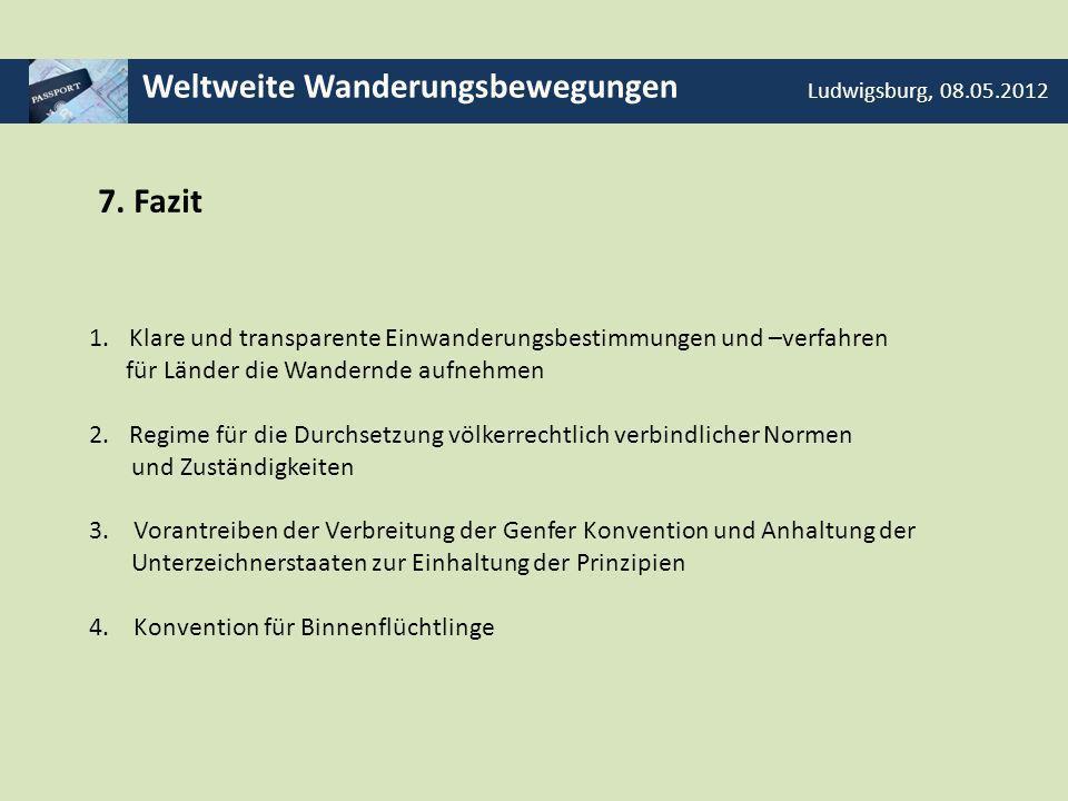 Weltweite Wanderungsbewegungen Ludwigsburg, 08.05.2012 7. Fazit 1.Klare und transparente Einwanderungsbestimmungen und –verfahren für Länder die Wande