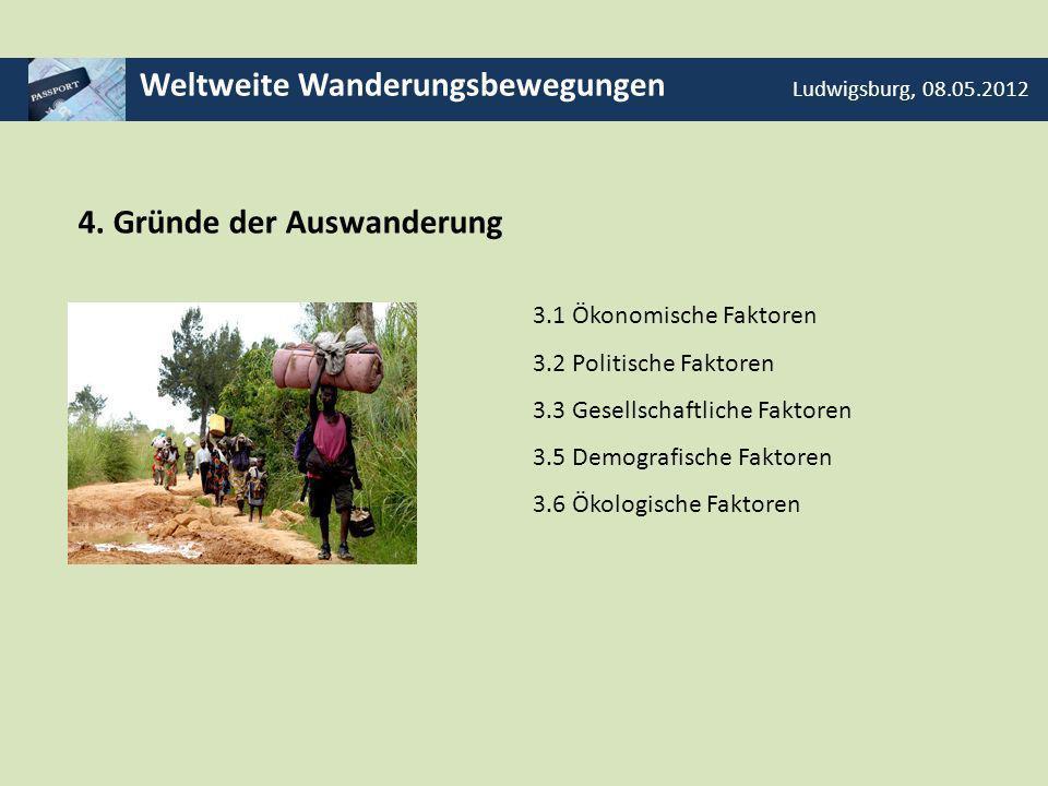 Weltweite Wanderungsbewegungen Ludwigsburg, 08.05.2012 4. Gründe der Auswanderung 3.1 Ökonomische Faktoren 3.2 Politische Faktoren 3.3 Gesellschaftlic