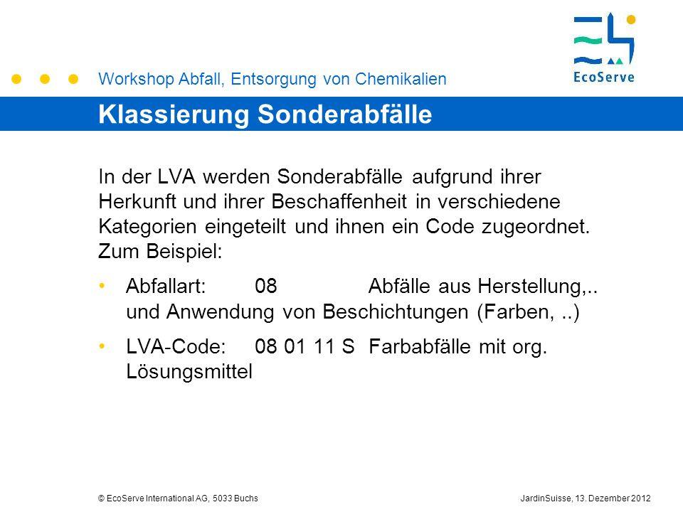 Workshop Abfall, Entsorgung von Chemikalien © EcoServe International AG, 5033 BuchsJardinSuisse, 13. Dezember 2012 Klassierung Sonderabfälle In der LV