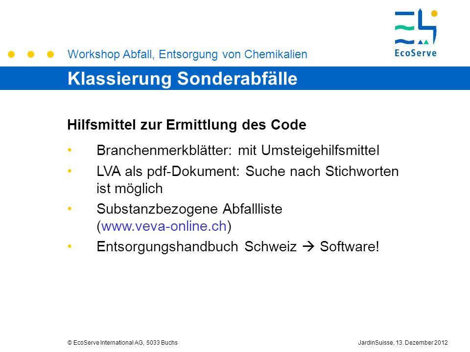 Workshop Abfall, Entsorgung von Chemikalien © EcoServe International AG, 5033 BuchsJardinSuisse, 13. Dezember 2012 Hilfsmittel zur Ermittlung des Code