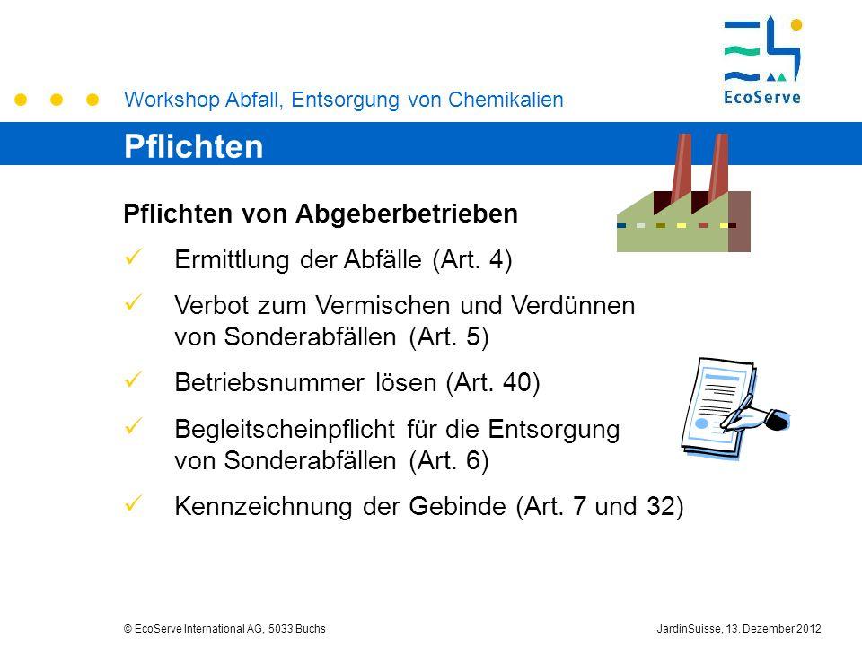 Workshop Abfall, Entsorgung von Chemikalien © EcoServe International AG, 5033 BuchsJardinSuisse, 13. Dezember 2012 Pflichten von Abgeberbetrieben Ermi