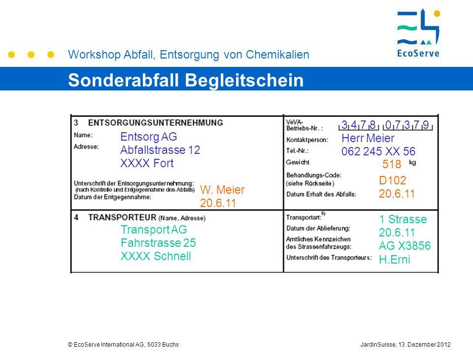 Workshop Abfall, Entsorgung von Chemikalien © EcoServe International AG, 5033 BuchsJardinSuisse, 13. Dezember 2012 Entsorg AG Abfallstrasse 12 XXXX Fo